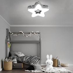 LAMPA DZIECIĘCA LED SUFIT SZARA GWIAZDKA 28W + PILOT