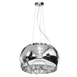 Lampa Szklana Srebrny z Prześwitami krople wody 40cm